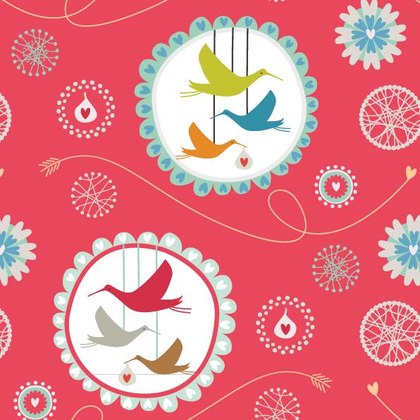 storks repeat print